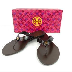 Tory Burch Brown Flat Sandals Gold Logo Leather